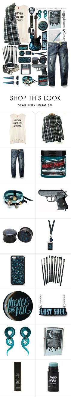"""It's hard to enjoy practical jokes when your whole life feels like one"" by yellowpika-san ❤ liked on Polyvore featuring H&M, MANGO MAN, Manic Panic NYC, POLICE, Dr. Martens, Revolution, Market, Rodial, men's fashion and menswear"