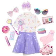 I've made a set inspired by Pixielock's style, called Party kei. Glitter, shiny fabrics, pastel colours, platform shoes and birthday party stuff. Harajuku Fashion, Kawaii Fashion, Cute Fashion, Rainbow Fashion, Pastel Fashion, 90s Grunge, Soft Grunge, Visual Kei, Looks Kawaii