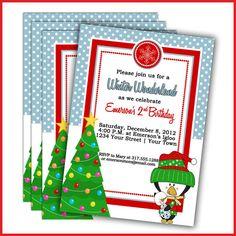 Winter wonderland Birthday Invitations Winter by LullabyLoo, $18.00