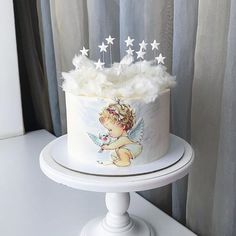 Ideas baby boy shower cakes and cupcakes desserts Baby Shower Cakes For Boys, Baby Boy Cakes, Girl Cakes, Torta Angel, Angel Cake, Sandwich Torte, Bolo Barbie, Fantasy Cake, Ballerina Cakes