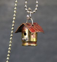 Mini birdhouse made from a bullet casing. by OgataC on Etsy