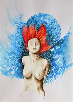 """Acrylic #painting #art on paper inspired the great Luc Besson Movie """"The Fifth Element"""". Beautiful women with red hairs and some surreal elements. Really great art painting on 150 gsm art paper."""