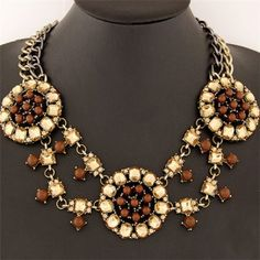 Triple Rhinestone Round Floral Pattern Design Costume Necklace - Brown
