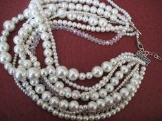 Chunky layered Wedding ivory glass pearlrondelle by galladesign, $99.00