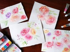 Watercolor flowers - peonies, roses - @rosaclairstudio