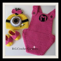 Check out this item in my Etsy shop https://www.etsy.com/listing/209739693/baby-girl-crochet-despicable-me-hot-rose