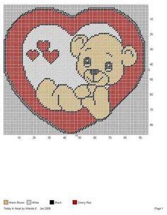 TEDDY IN HEART by WANDA K. -- WALL HANGING