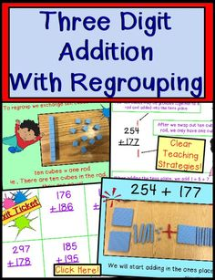 Looking for Addition with Regrouping? Find core standards activities to teach double digit regrouping strategies to students who need fun help with place value. Kids enjoy learning while teachers bring ideas with numbers to classroom, small group, or home