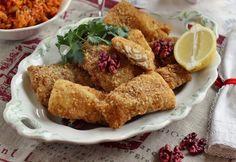 Diós bundában sült hal paradicsomos zöldségkörettel