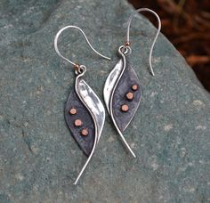 Sterling Silver with 3 Copper Rivet Dots With A by jimscheradella