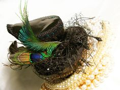 Uniquekerer, Goldfishdreams, Handmade, Crafted, Cute, OOAK, Costume, Beautiful, PVC, Pearls, Peacock Feathers, Alternative,  Fascinator a Made By Uniquekerer,