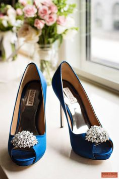 Boston Wedding Photography by Person Killian Photography. Beautiful Blue Wedding Shoes!  Elana + Pete who celebrated their winter wedding at the Seaport Hotel!