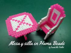 Mesa y silla en Hama Beads 3D - Perler Bead (table and chair)