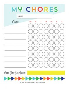 Free Printable chore chart for kids from BusyMommyMedia.com | This is a great way to get kids motivated to do chores!