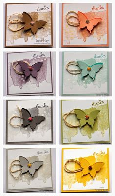 stampin up 2014-2016 in colors | Stampin' Up! 3x3 Elegant Butterfly Cards Tracy May Card Making ideas ...