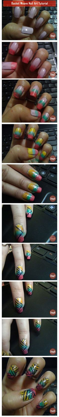 Basket Weave Nail Art Tutorial