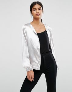 Image 1 of Vila Metallic Collarless Bomber