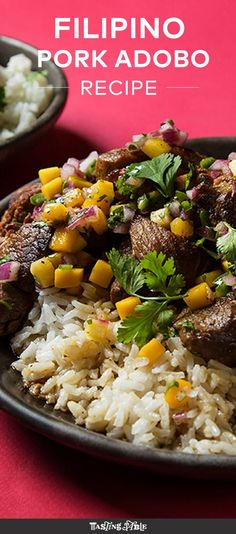 Filipino Pork Adobo with Mango Salsa A tropical salsa brightens this rich Filipino dishVinegary pork is topped with a vibrant mango salsa in this Filipino dish, best served over rice. Pork Adobo Recipe, Best Pork Recipe, Filipino Recipes, Asian Recipes, Filipino Food, Bacon Recipes, Cooking Recipes, Quick Recipes, Filipino Pork Adobo