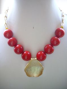 Chunky Red Vintage Acrylic Bead Necklace by DesignsbyPattiLynn, $50.00