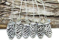 Pine Cone Necklaces Set of 6 Bridesmaid Gifts for Winter Wedding