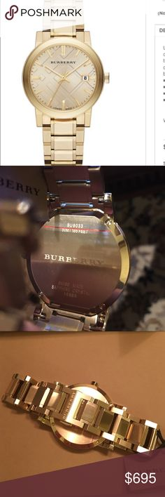"""🇬🇧SALE🇬🇧BURBERRY, THE CITY 38mmUNISEX ‼️NEW ‼️ 🇬🇧 OPULENT,UNISEX CITY WATCH By BURBERRY ‼️38MM in GOLD . A GOLD TONE CASE & BEZEL BEAUTIFULLY OFFSET A LT. TRENCH CHECK HYDRAULIC STAMP DIAL .Stainless Steel . Water resistant up to 5 ATM . BRAND NEW W PROTECTIVE PLASTIC STILL ON . NWT STYLE BU 9033‼️ COMES W 2 BURBERRY BOXES  & BURBERRY WARRANTY SERVICE  BOOKLET . FACE IS A BIT TOO LARGE FOR MY WRIST :( Bought at NORDIES . CLASSIC """"GOLD """" WILL NEVER GO OUT OF STYLE.  ‼️.  PRICE FIRM. ‼️…"""