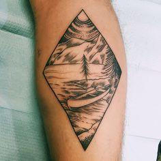 Mountain Scene. Taka Cooper Speakeasy Tattoo Co. Boone NC.