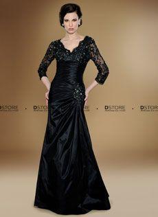 Vestido longo de tafetá com mangas em renda Maureen 1727 : Dstore Miami, Vestidos de Festa Importados