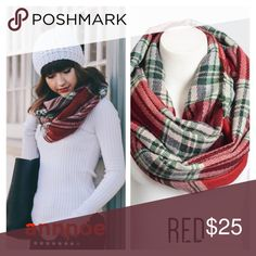 """🎁HOLIDAY infinity scarf This is a RED PLAID frayed edge infinity scarf.  It is 100% acrylic, so super soft to wear.  The dimensions are 63""""x23"""".  I have BLUE AND KHAKI, so you can bundle and save 10% Accessories Scarves & Wraps"""