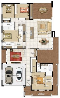 Floor Plan his and hers robes, delete media move laundry etc behind garage Dream House Plans, Small House Plans, House Floor Plans, Barrington Homes, Casa Top, House Construction Plan, Drummond House Plans, Three Bedroom House Plan, Home Design Floor Plans
