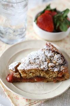 Strawberry Rhubarb Coffee Cake Recipe by Nutmeg Nanny