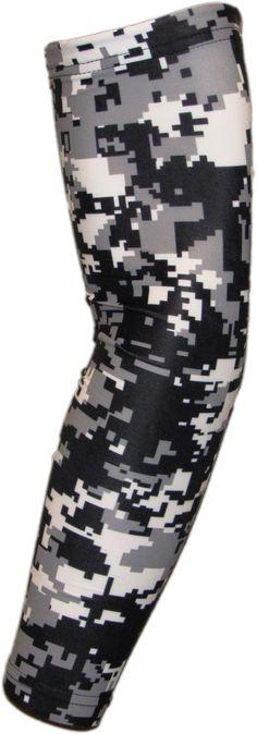 Black Gray White Digital Camo Arm Sleeve Compression Arm Sleeves, Digital Camo, Arm Warmers, Black And Grey, Arms, Softball, Volleyball, Color, Christmas Ideas