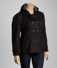 Loving this Black Hooded Peacoat - Plus on #zulily! #zulilyfinds