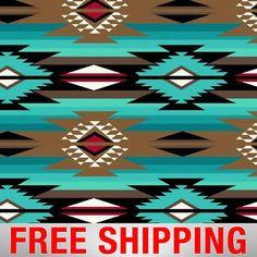 Raindance Teal Native American Fleece Fabric – Fabric by the Yard - fabriccrafts