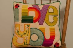 Vintage Needlepoint Pillow  Mod I Love You by thoroughbredthreads