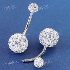 1PC 14G Clear Czech Crystal Belly Navel Ring Stud Bars Stainless Steel Piercing