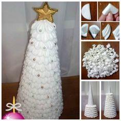 DIY Cotton Pad Christmas Tree