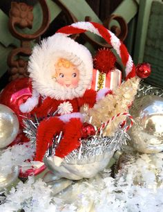 ViNTaGE StYle SuGaR SwEeT ChRiStMaS Ornament with Chenille Pixie