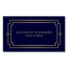 Professional Vintage Art Deco Elegant Gold, Navy Double-Sided Standard Business Cards (Pack Of 100)