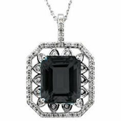 Platinum Emerald Cut Onyx and Diamond Pendant Gems-is-Me. $2334.48. This item will be gift wrapped in a beautiful gift bag. In addition, a 'gift message' can be added.. FREE PRIORITY SHIPPING