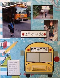School Scrapbook Page Ideas and Free Paper Piecing Patterns: Elementary School Scrapbook Page Idea