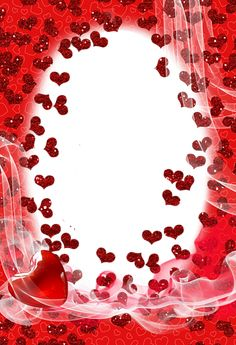 Transparent Red PNG Photo Frame with Hearts