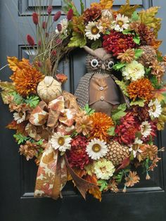 Fall Owl Door Wreaths Fall Front Door Wreaths by hollyhillwreaths