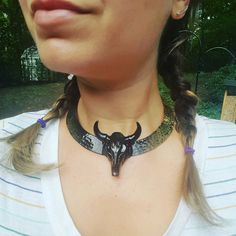 Steer Skull Choker in Black Patent // cow skull necklace // horn jewelry // statement necklace // gold choker // handpainted jewelry // boho  Hand formed and painted steer skull choker in high gloss patent black. Opening in the back to slide onto neck. One size fits all. You will definitely make a statement with this vixen inspired necklace.