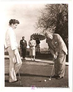 Katharine Hepburn golfing with Spencer Tracy #film