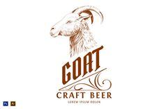 Vintage Logo with Goat Head by vatesdesign on @creativemarket