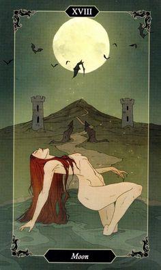 The Moon Tarot Card, Gothic Artwork, Arte Obscura, Witch Art, Tarot Decks, Character Drawing, Dark Wood, Dark Art, Japanese Art