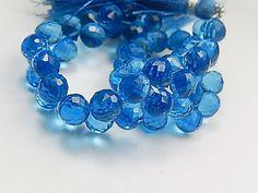 Semi Precious Gemstone Briolettes.  Blue Hydro Quartz by LuxBeads