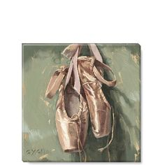 Sullivans Ballet Slippers Giclee Wall Art, x Gallery Wrapped Canvas Print Stretched Over Wood Frame, Ready to Hang, Beautiful Art Work by Darren Gygi Ballet Shoes Drawing, Art Ballet, Ballet Painting, Dance Ballet, Dance Art, Painting Art, Dance Shoes, Kunst Inspo, Vintage Ballet