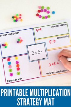 Students are provided with a laminated multiplication strategies mat, containing five sections. Allows students to demonstrate their understanding of a multiplication equation, by showing five various solution strategies. Maths 3e, Multiplication Activities, Math Activities, Numeracy, Multiplication Problems, Division Activities, Math Fractions, Array Multiplication, Multiplication Table Printable