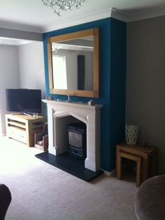 Teal chimney breast